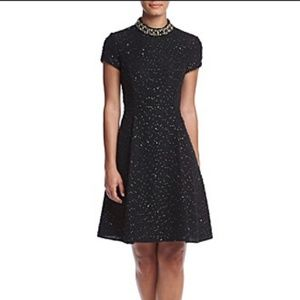 Vince Camuto Embellished Beaded Neck Black Dress